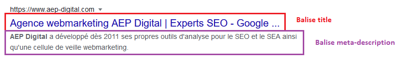 Exemple de balise title et balise meta-description dans les pages de résultats Google